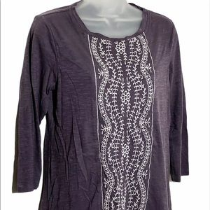 LOGO Lori Goldstein Women's Purple Tunic Top